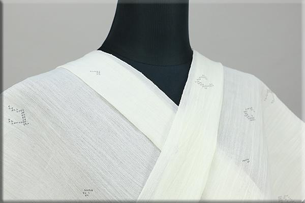 夏着物 小千谷ちぢみ 楊柳 絣柄 オーダー仕立て付き 音符 白 ◆男女兼用◆