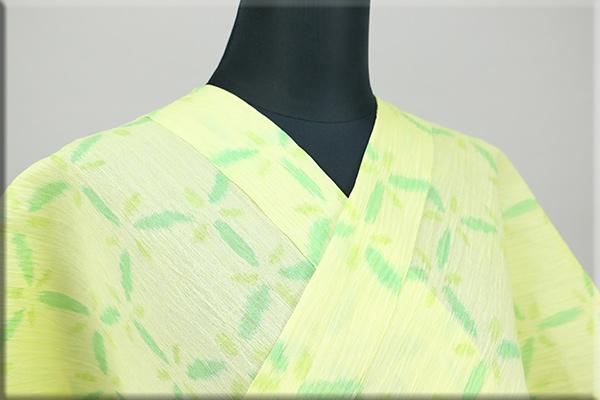 夏着物 小千谷ちぢみ 楊柳 オーダー仕立て付き 杉山織物 黄 ◆女性にオススメ◆