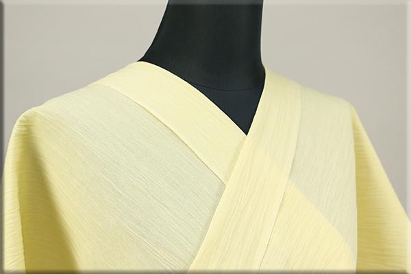 夏の綿麻着物 オーダー仕立付 綿麻縮 吉新織物 黄色 無地 ◆男女兼用◆