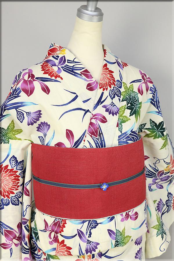 源氏物語 綿麻 浴衣(ゆかた) オーダー仕立て付き 草花 カラフル ◆女性にオススメ◆
