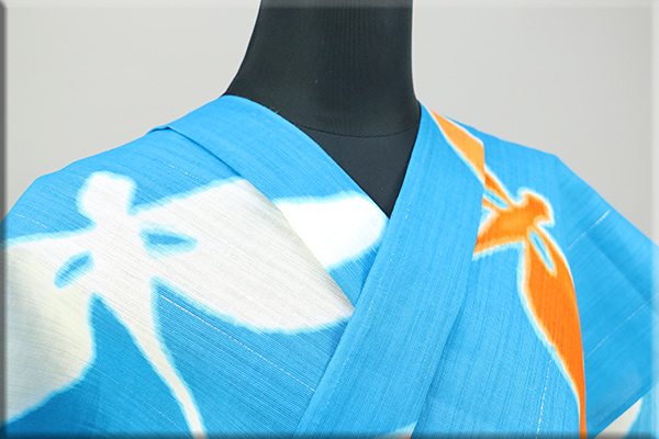 誉田屋源兵衛 綿麻浴衣(ゆかた) オーダー仕立て付き 蜻蛉 空色 ◆男女兼用◆