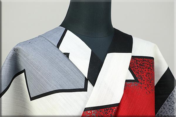誉田屋源兵衛 綿麻浴衣(ゆかた) オーダー仕立て付き 漆加工 松皮菱 赤黒 ◆男女兼用◆