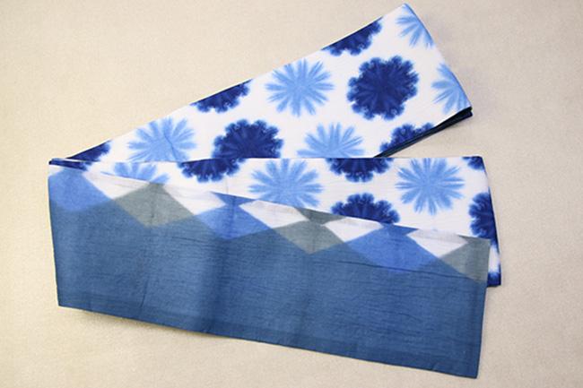 藤井絞 半幅帯 雪花絞り 綿麻 リバーシブル 青×白