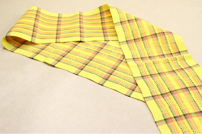 首里 花織 半幅帯 沖縄 綿 黄