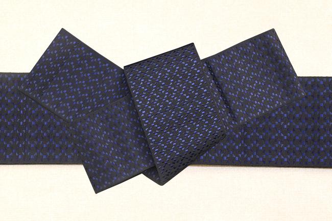 博多織 西村織物 角帯 正絹 切子 紺×黒