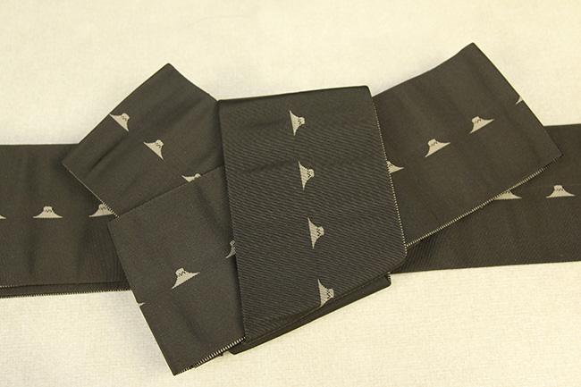 博多織 西村織物 角帯 正絹 片風通 富士山 カーキ