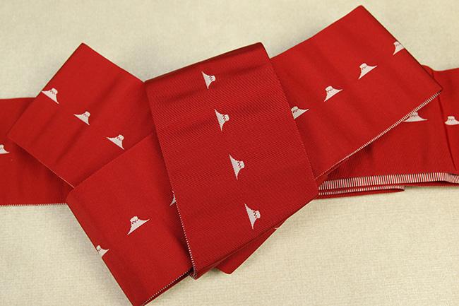 博多織 西村織物 角帯 正絹 片風通 富士山 赤