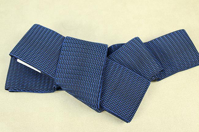 博多織 西村織物 角帯 正絹 浮遊 青