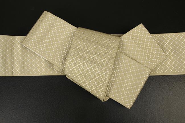 博多織 西村織物 角帯 正絹 切子 黄土色