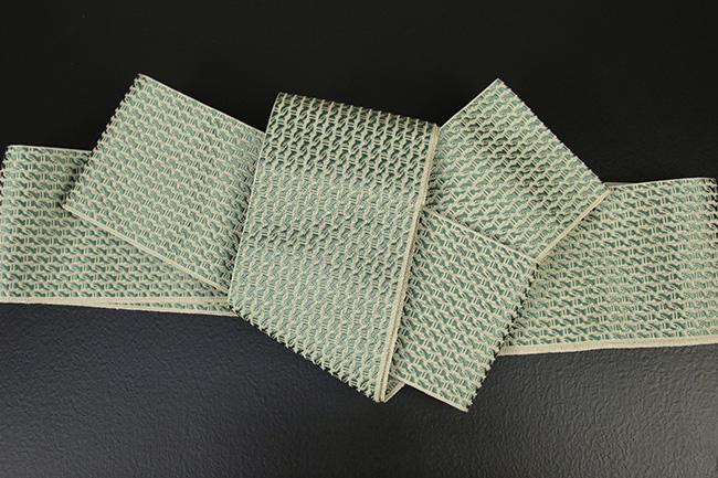 博多織 西村織物 角帯 正絹  道轍 綟鎖 緑×ベージュ