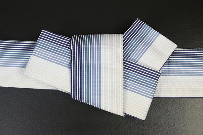 西村織物 麻絹 博多織 角帯 かがり仕立付 帯 青×水色×白 リバーシブル