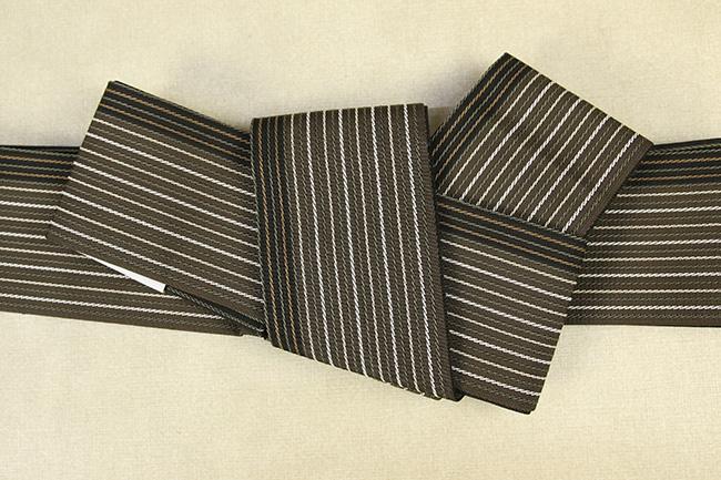 西村織物 麻絹 博多織 角帯 かがり仕立付 帯 茶×白 リバーシブル