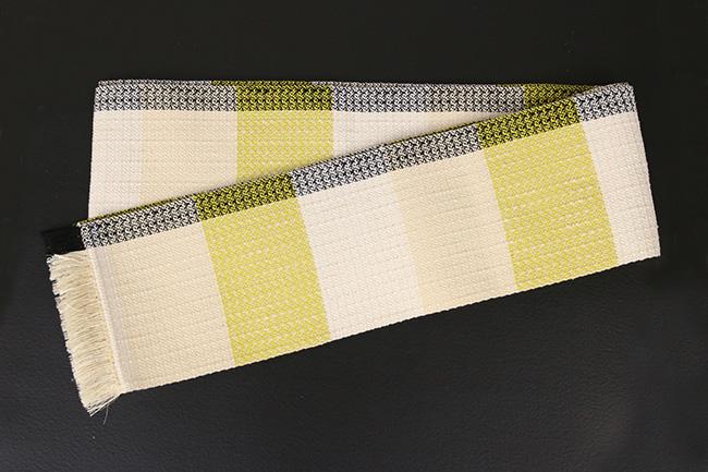 近賢織物 宝来織 胡蝶 半幅帯 正絹 白×黄