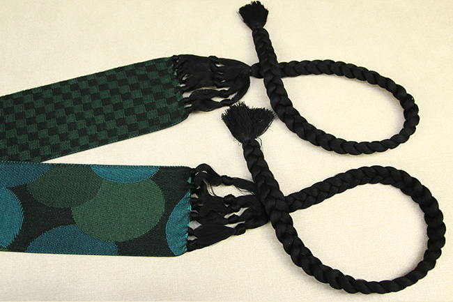 近賢織物 米沢宝来屋 一見楽着 角帯 綿100% 緑系 リバーシブル