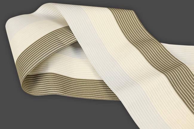 西村織物 麻絹 博多織 半幅帯 かがり仕立付 帯 灰×ベージュ×茶