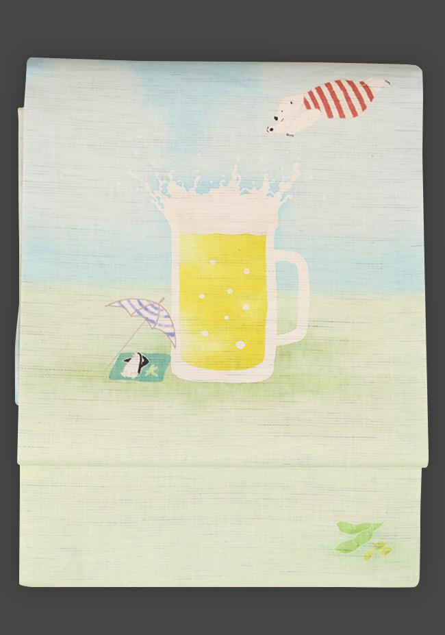 京都小泉 召しませ花 名古屋帯 白くま ビール 麻 水色×緑