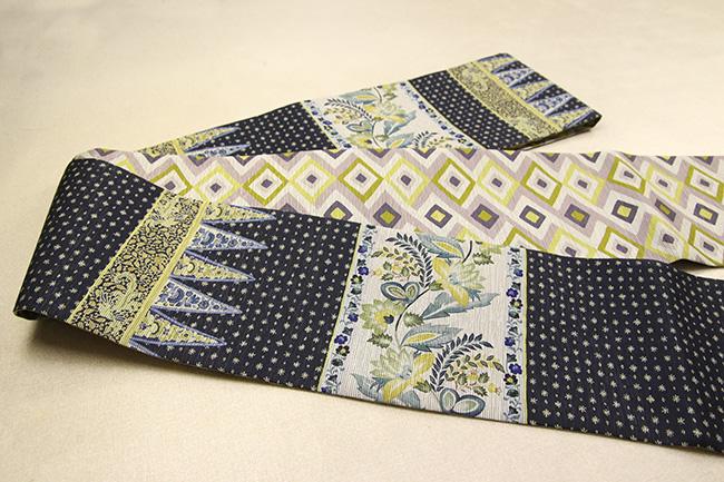 京都小泉 召しませ花 半幅帯 更紗柄 リバーシブル 黒