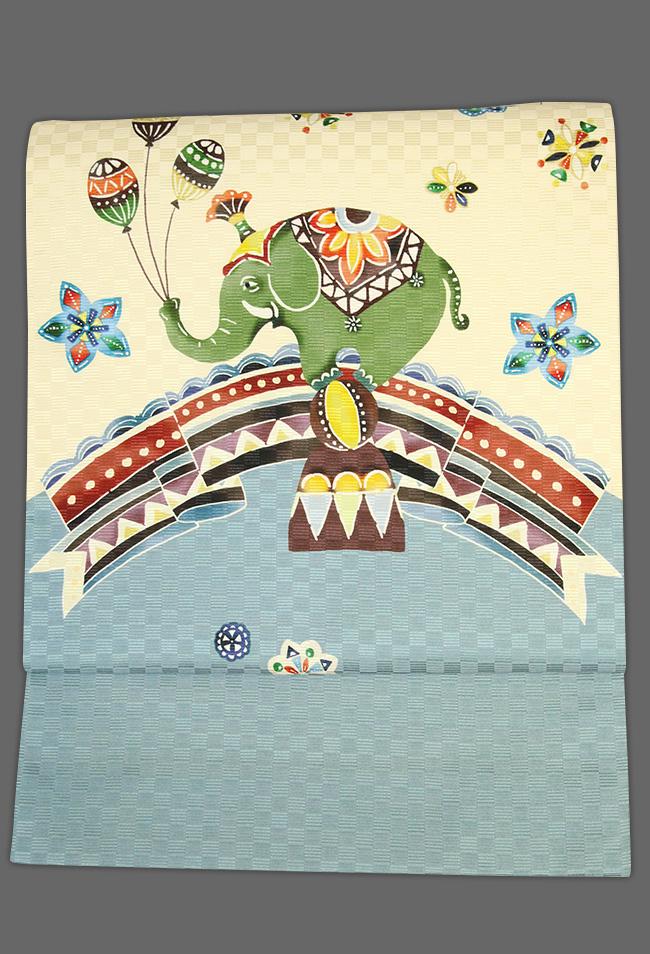 京都小泉 召しませ花 名古屋帯 サーカス 象 絹 ベージュ