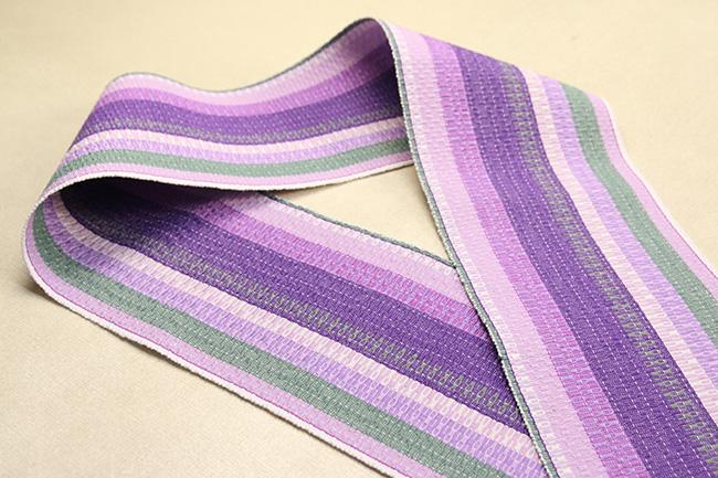 首里 道屯織 半幅帯 沖縄 綿 紫xピンク