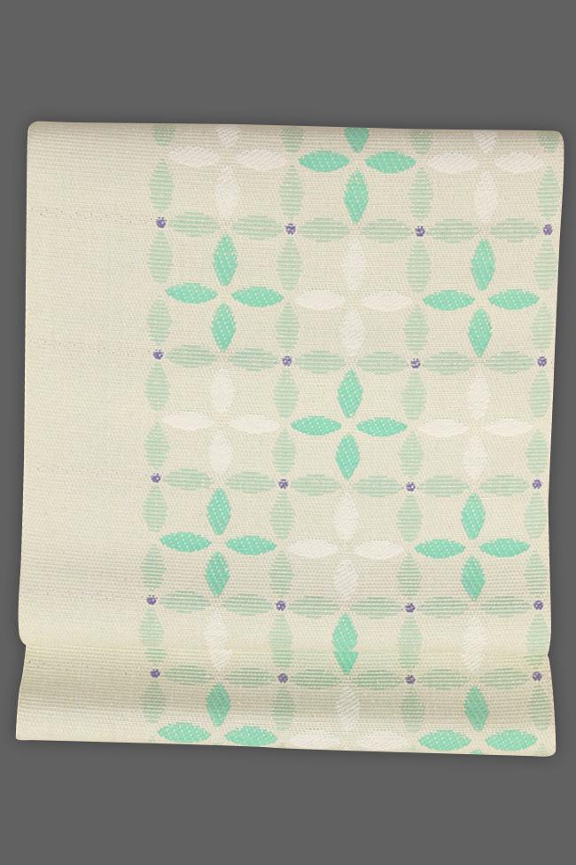 近賢織物 正絹 紙糸 八寸名古屋帯 お仕立て付き 七宝柄 緑