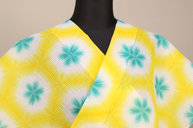 雪花絞浴衣(ゆかた) 綿麻紅梅 オーダー仕立て付き 藤井絞 黄×青緑 ◆女性にオススメ◆