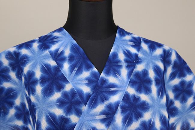 雪花絞浴衣(ゆかた)  オーダー仕立て付き 藤井絞 白青 ◆女性にオススメ◆