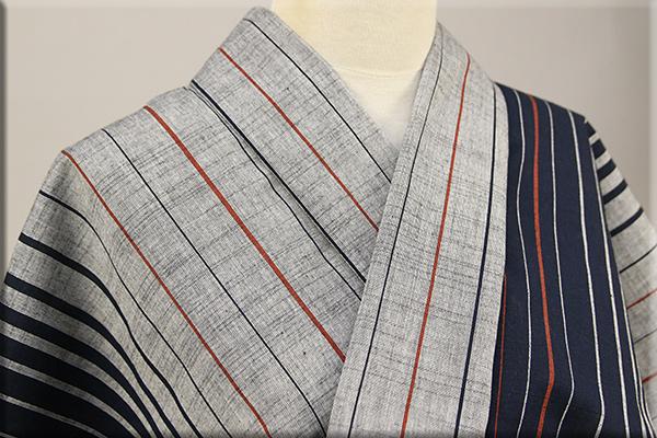 遠州木綿 木綿着物 オーダーお仕立て付き ツートン滝縞 紺  ◆男女兼用◆