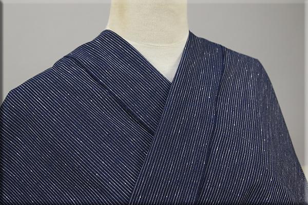 遠州木綿 木綿着物 オーダーお仕立て付き 白ネップピンストライプ 紺 ◆男女兼用◆