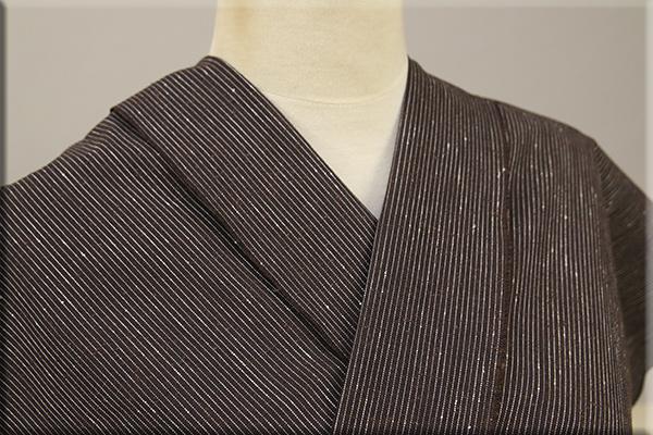遠州木綿 木綿着物 オーダーお仕立て付き 白ネップピンストライプ 茶 ◆男女兼用◆