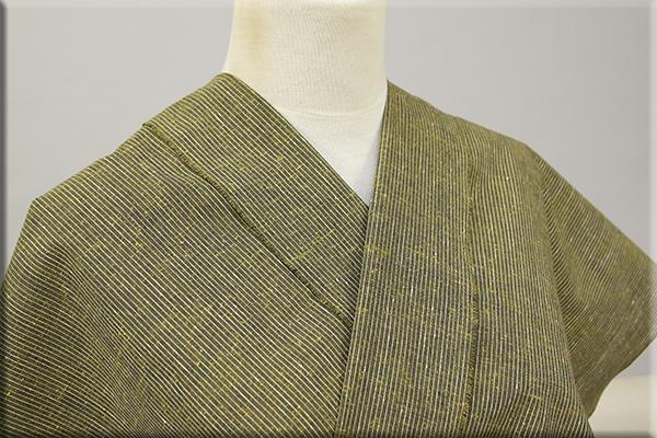 遠州木綿 木綿着物 オーダーお仕立て付き 白ネップピンストライプ 緑 ◆男女兼用◆