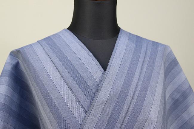 遠州木綿 木綿着物 オーダーお仕立て付き 遠州縞 薄青 ◆男女兼用◆