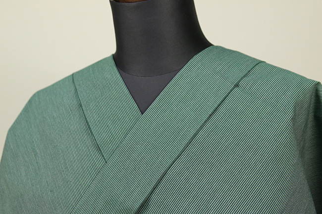 遠州木綿 木綿着物 オーダーお仕立て付き 六〇双糸 ピンストライプ 緑 ◆男女兼用◆