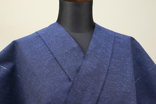 遠州木綿 木綿着物 オーダーお仕立て付き ラメ糸 青 ◆男女兼用◆