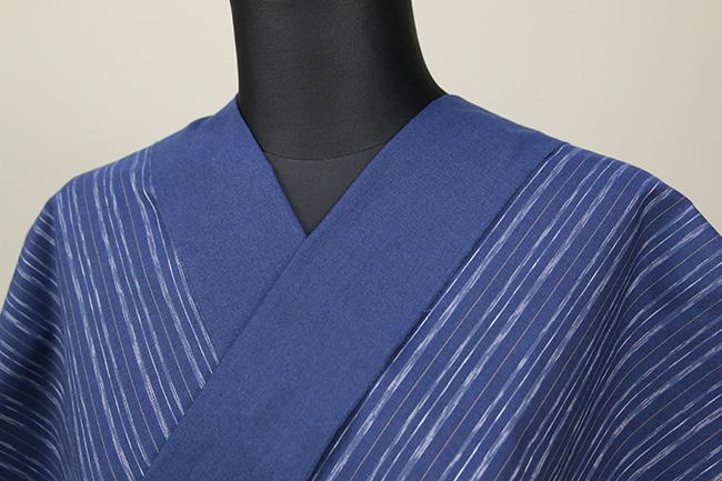 遠州木綿 木綿着物 オーダーお仕立て付き 六〇双糸 絣ストライプ 青 ◆男女兼用◆