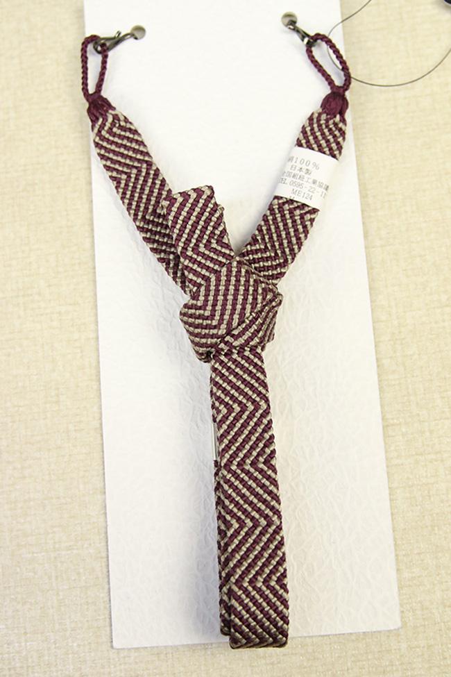 和小物さくら 男性用羽織紐 正絹 直付けタイプ 組紐 えんじ×ベージュ ストライプ