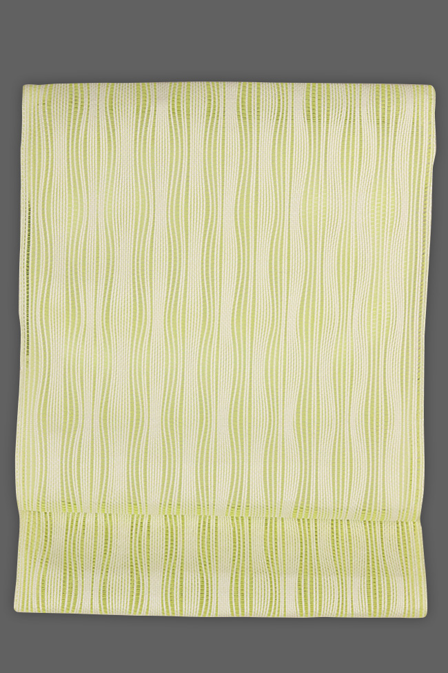西村織物 博多織 八寸名古屋帯 正絹 羅 黄×白 ストライプ 仕立付き