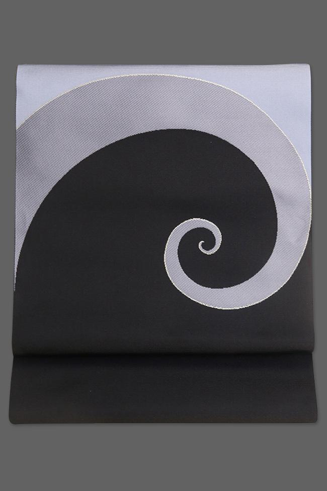 西村織物 博多織 八寸名古屋帯 正絹 お仕立て付き 螺旋 水色×黒