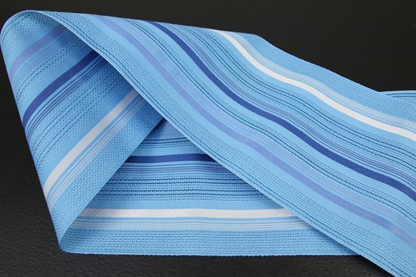 西村織物 悦 博多織 正絹半幅帯 紗 かがり仕立付 帯 ストライプ 絹100% 青白