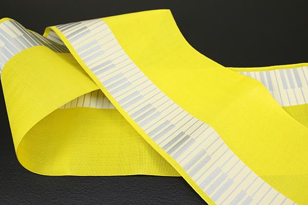 西村織物 悦 博多織 正絹半幅帯 紗 かがり仕立付 帯 ピアノ 絹100% 黄