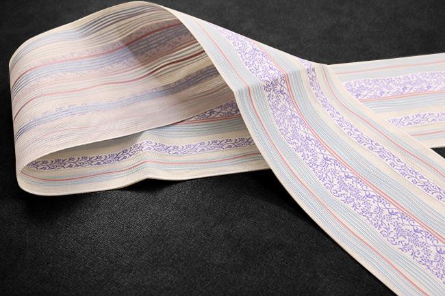 黒木織物 博多織 正絹半幅帯 紗 かがり仕立付 ベージュ