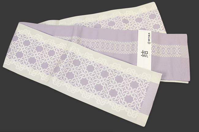 西村織物 結 博多織 正絹半幅帯 かがり仕立付 アラベスク 絹100% ふじ色