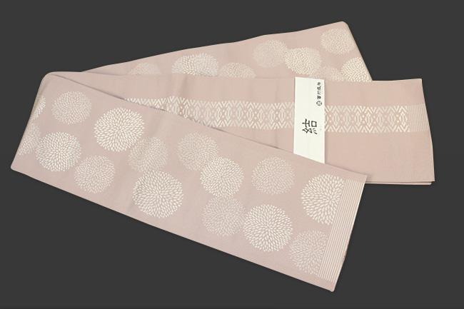 西村織物 結 博多織 正絹半幅帯 かがり仕立付 マム 絹100% 肌色