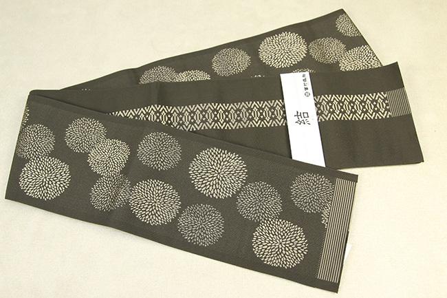 西村織物 結 博多織 正絹半幅帯 かがり仕立付 マム 絹100% カーキ色