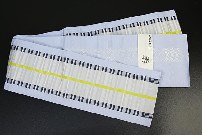 西村織物 結 博多織 正絹半幅帯 かがり仕立付 モダン格子 絹100% 水色