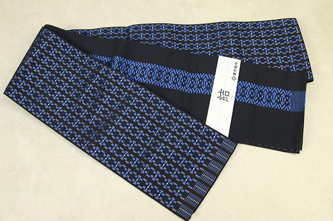 西村織物 結 博多織 正絹半幅帯 かがり仕立付 モダン幾何学 絹100% 青×黒