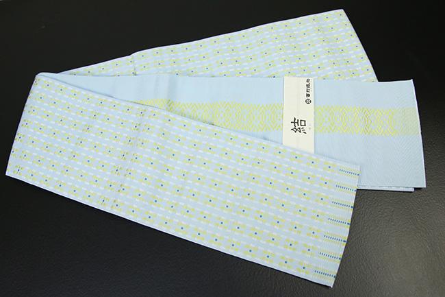 西村織物 結 博多織 正絹半幅帯 かがり仕立付 モダン幾何学 絹100% 水色