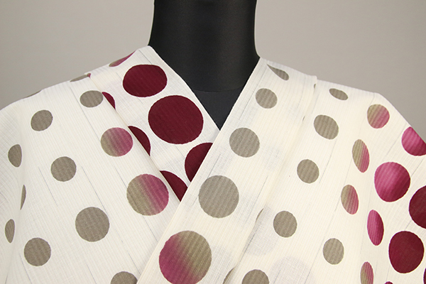 IKS浴衣(ゆかた) オーダー仕立て付き 水玉 白×赤紫×黄土 女性にオススメ
