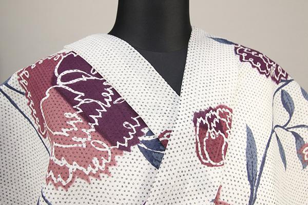IKS浴衣(ゆかた) オーダー仕立て付き カーネーション 白×赤紫×藍色 女性にオススメ