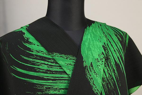 JUNKO KOSHINO浴衣(ゆかた) オーダー仕立て付き セオα 筆模様 黒×緑