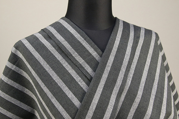 久留米絣 木綿着物 オーダーお仕立て付き 普段着きもの ストライプ 黒×灰